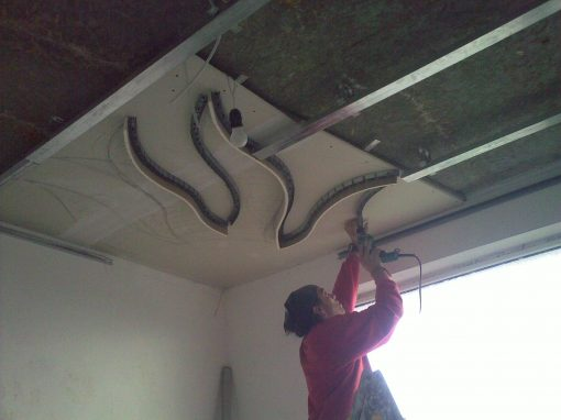 Окачени тавани, изграждане на елементи от гипсокартон
